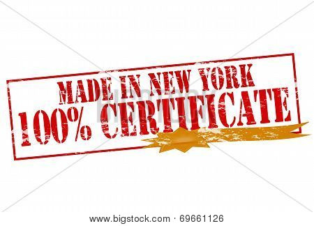 Made In New York One Hundred Percent Certificate