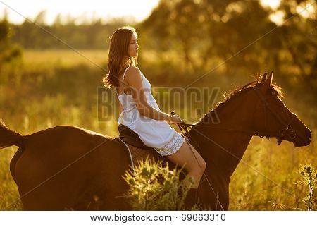 Woman - Jockey Riding On A Horse