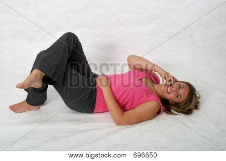 Teen On Phone On Floor