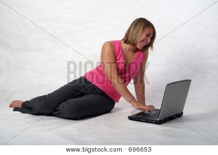 College Girl On Computer