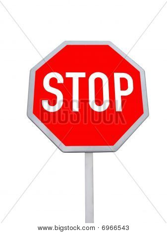 Stop Road Sign, Red Color, Isolated