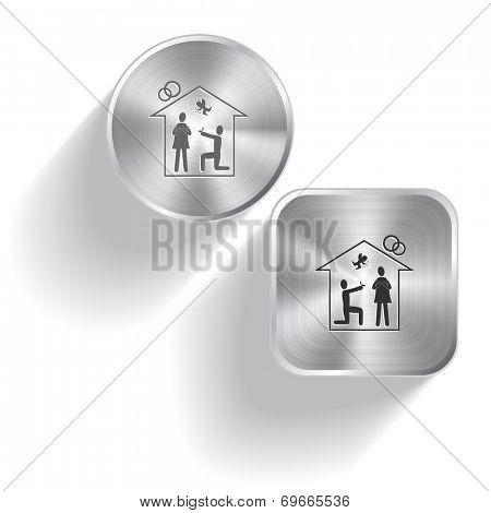 Home affiance. Raster set steel buttons