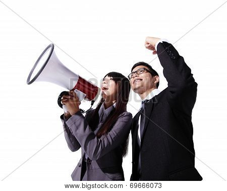 Young Business Team Shouting
