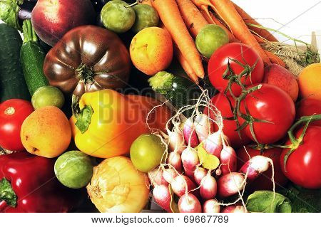 Crates Of Fruit And Vegetables On White Background In Studio.