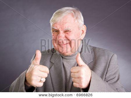 Portrait Joyful Elderly Men
