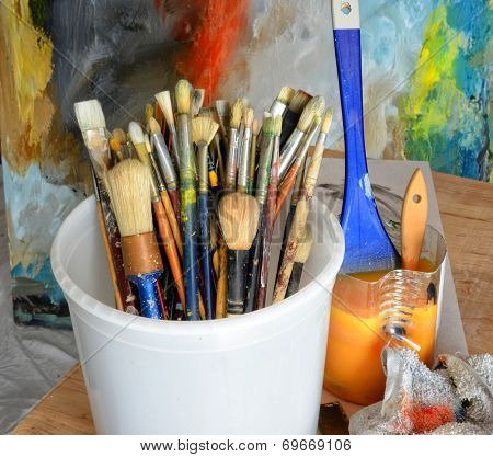 Nice clean Image of a painters Bucket and Brushes