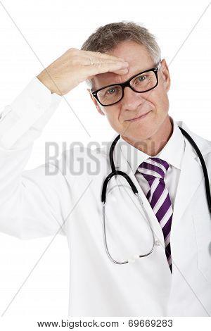 White Doctor Suffering Headache