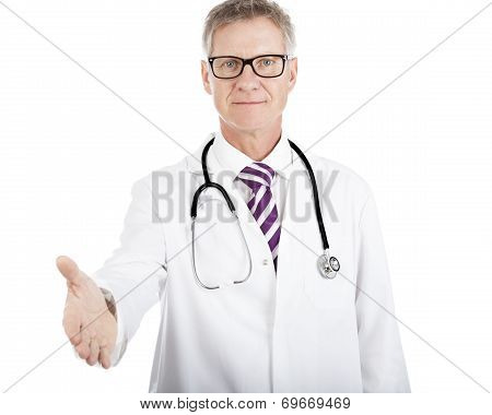 Doctor Holding Out His Hand In A Handshake