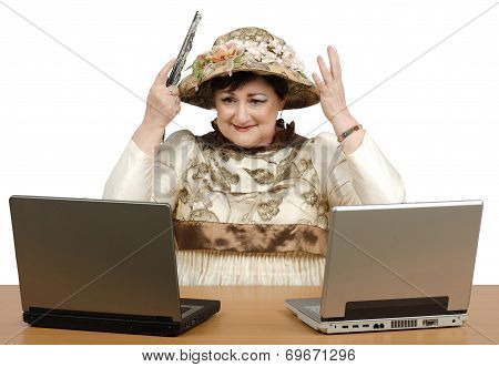 Old Woman Showing New Tapestry Hat