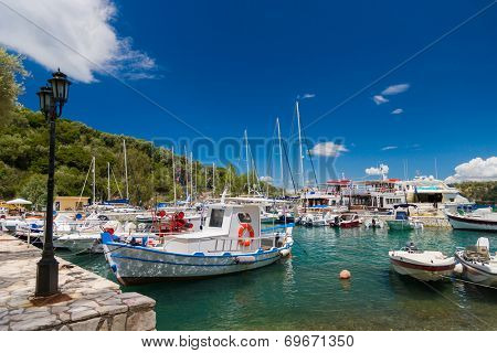 Fishing boat in the Harbor of Meganisi island in Lefkada Greece
