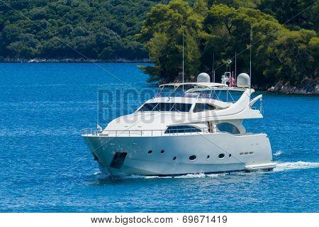 Luxury Yacht passing the Skorpios island in Lefkada Greece