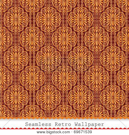 Vintage seamless wallpaper pattern background. Raster.