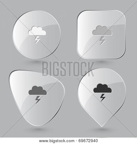 Storm. Glass buttons. Raster illustration.