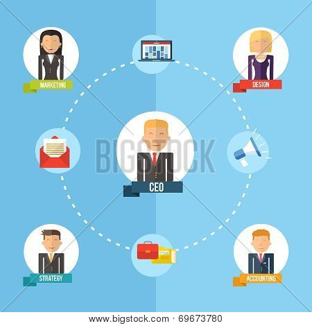 Global Business Organization Flat Concept Illustration
