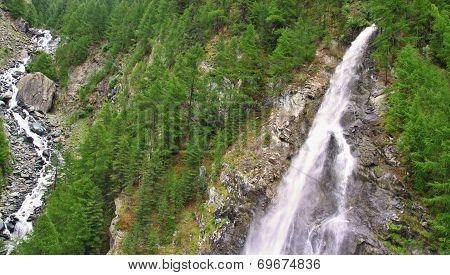 View On Waterfall  Near The Matterhorn In Swiss