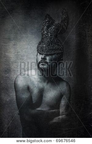 depression, man with golden helmet horns concept nightmares