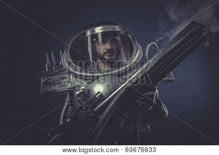 galaxy, spaceman in silver armor and huge cannon