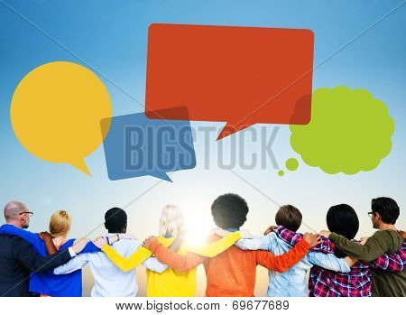 Group of People Backwards with Speech Bubbles