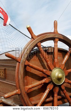 Steering Wheel Of A Sailing Ship