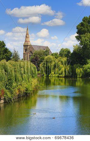 Shrewsbury Church on the River Severn in Shropshire, England, UK
