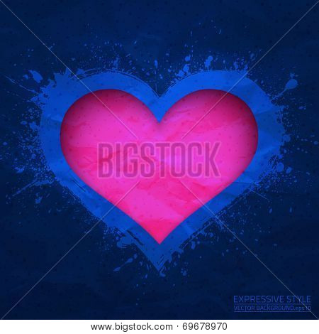 Creased Old Vector Blue Paper With Cut Pink Heart Background