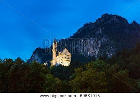 Neuschwanstein Castle in the Bavarian Alps at night, Germany