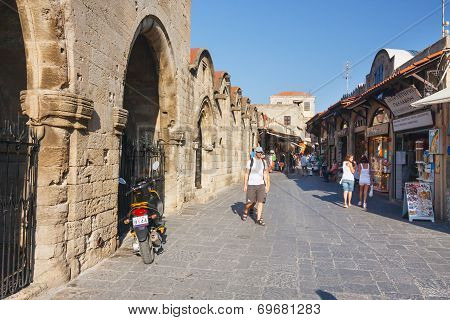 Unidentified Tourists Walking In Historic Centre Of Rhodes