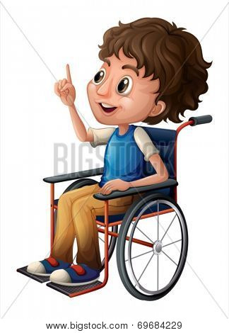 Illustration of a man in a wheelchair on a white background