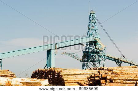 Processing Tower Waterfront Log Storage Yard Paper Mill