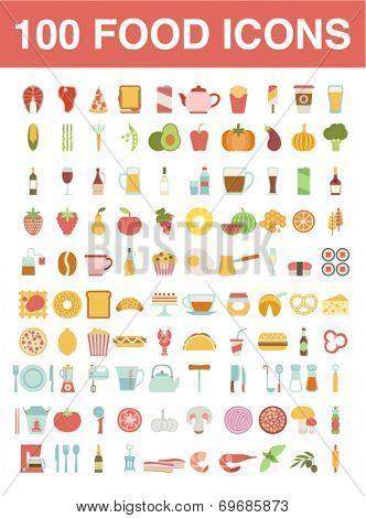 Large set of food and cooking icons