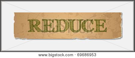 Reduce text on blank grunge recycled paper texture