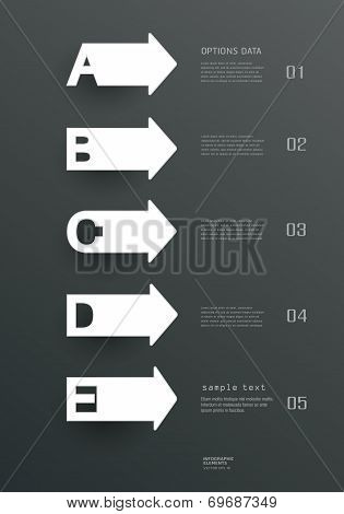 Paper simple Templates and letters A, B, C, D, E design for web site