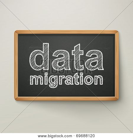 Data Migration On Blackboard In Wooden Frame