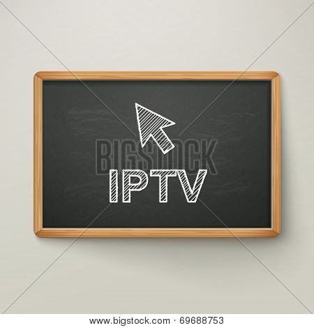 Internet Protocol Television On Blackboard In Wooden Frame