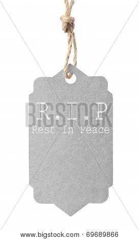 Eco Friendly Label. R.i.p Rest In Peace, Isolated On White Background