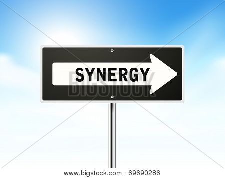 Synergy On Black Road Sign