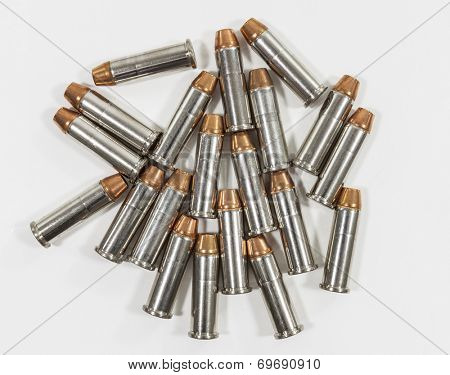 Spilled 38 caliber hollow point bullets.