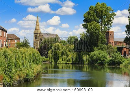 Shrewsbury Church on the River Severn in Shropshire, UK