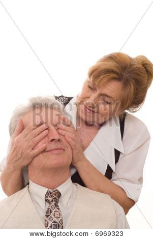 Elderly Woman Closes Her Eyes A  Man