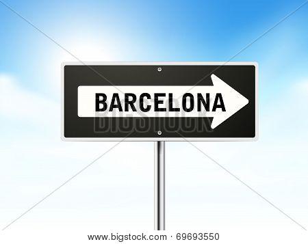 Barcelona On Black Road Sign