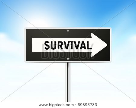 Survival On Black Road Sign