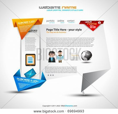 Origami style website UI Ux template for a modern look website with flash style icons ans blend shadows