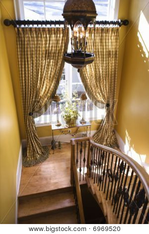 Curtained Window On Stair Landing