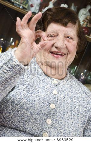 Older Woman Giving Okay Sign