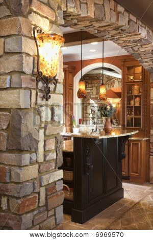 Stone Archway In Affluent Home