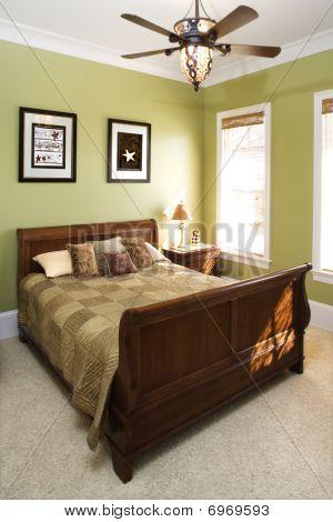 Green Bedroom With Ceiling Fan