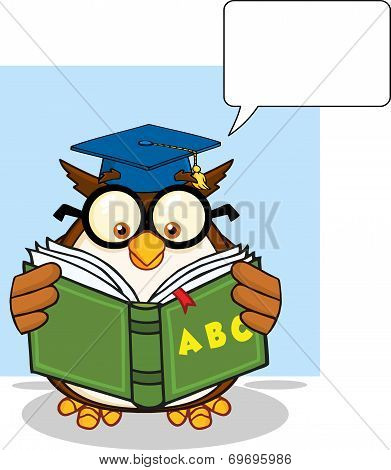 Wise Owl Teacher Cartoon Mascot Character Reading A ABC Book And Speech Bubble