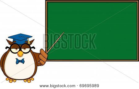 Wise Owl Teacher Cartoon Mascot Character In Front Of School Chalk Board