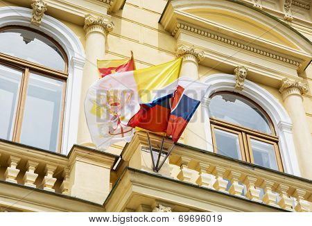 Slovak And Vatican Flags On The Building Of The Great Seminary In Nitra