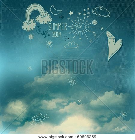 Summer Sky Poster - Doodle drawings, including rainbow, sun, clouds, hearts, moon and stars above the fluffy white clouds, celebrating summer of 2014